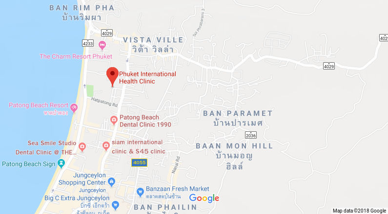 Google Maps of Phuket International Health Clinic